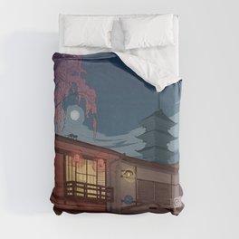Kyoto at night Duvet Cover