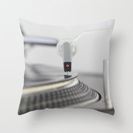 Closeup of the legendary technics sl 1200 mk2 turntable Throw Pillow