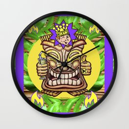 Happy Jester Tiki With Flames Wall Clock
