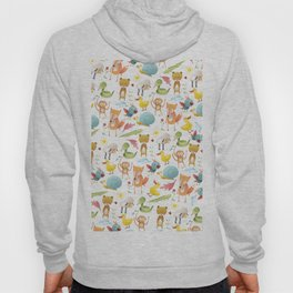 Cute pink teal yellow animal floral pattern Hoody