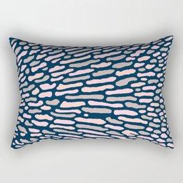 Organic Abstract Navy Blue Rectangular Pillow