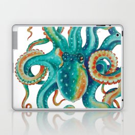Octopus Tentacles Teal Green Watercolor Art Laptop & iPad Skin