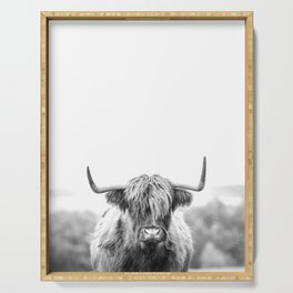 Highland Cow Longhorn in a Field Black and White Serving Tray