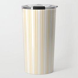 Trendy Large Buttercup Yellow Pastel Butter French Mattress Ticking Double Stripes Travel Mug