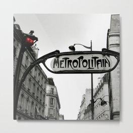 Paris Art Nouveau Metro - Metropolitan Subway Station Sign black and white photograph Metal Print