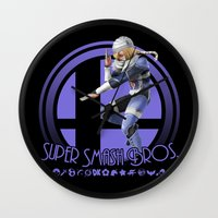super smash bros Wall Clocks featuring Sheik - Super Smash Bros. by Donkey Inferno