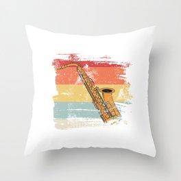 Retro Saxophon  Throw Pillow