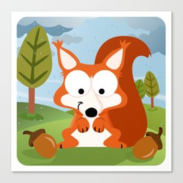 Woodland Animals Series II. squirrel Canvas Print