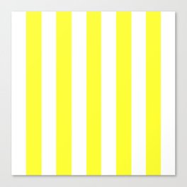 Yellow (RYB) - solid color - white vertical lines pattern Canvas Print