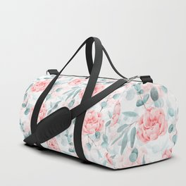 Rose Blush Watercolor Flower And Eucalyptus Duffle Bag