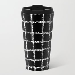 Black and white grid abstract minimal gridded pattern gifts basic nursery home decor Travel Mug