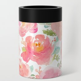 Pink Peonies Watercolor Pattern Can Cooler