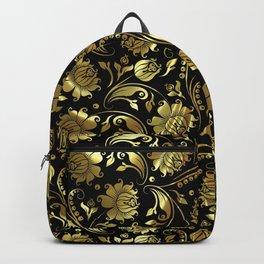 Black & Gold Foil Floral Damasks 3 Backpack
