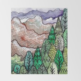landscape forest montain pines Throw Blanket