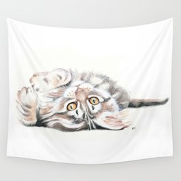 Cute Maine Coon Kitten Playing Wall Tapestry