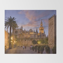 Seville, The Cathedral at dusk Throw Blanket