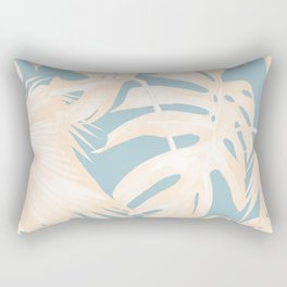 Island Vacay Hibiscus Palm Pale Coral Sky Blue Rectangular Pillow