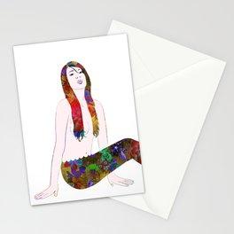 Golden Flower Mermaid Stationery Cards