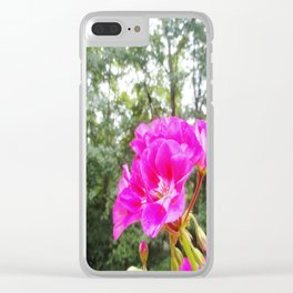 Hot pink Flower Clear iPhone Case