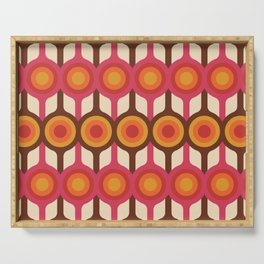 Magenta, Orange, Ivory & Brown Retro 1960s Circle Pattern Serving Tray