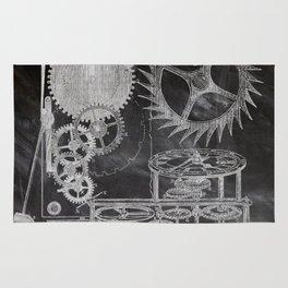 black and white vintage patent print chalkboard steampunk clock gear Rug