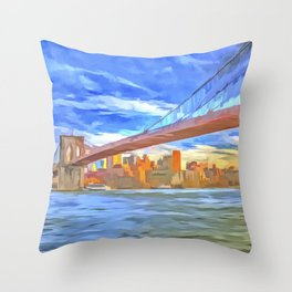 Brooklyn Bridge New York Pop Art Throw Pillow