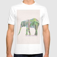The Lonely Elephant MEDIUM White Mens Fitted Tee