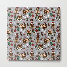 Pugs in christmas party Metal Print