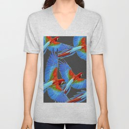 FLOCK OF BLUE MACAWS ON CHARCOAL Unisex V-Neck