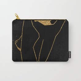 Gold Glitter Nude in One Line Carry-All Pouch