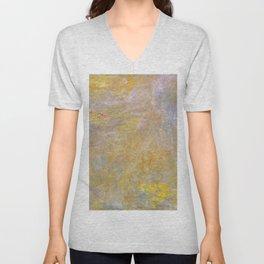 Sea-Roses (Yellow Nirwana) by Claude Monet Unisex V-Neck