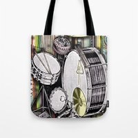 kit king Tote Bags featuring Drum Kit by JustinPotts