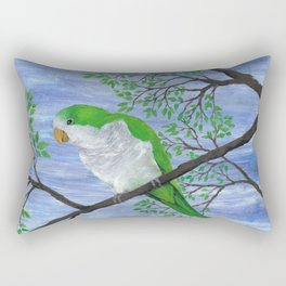 A painting of a quaker parrot Rectangular Pillow