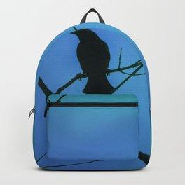 Redwinged Blackbird Silhouette in Blue Backpack