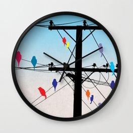 birds blue Wall Clock
