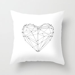 Love Heart Geometric Polygon Drawing Vector Illustration Valentines Day Gift for Girlfriend Throw Pillow