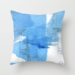 Corn flower blue hand-drawn wash drawing paper Throw Pillow