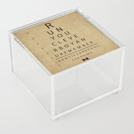 Run You Clever Boy - Doctor Who Inspired Vintage Eye Chart Acrylic Box