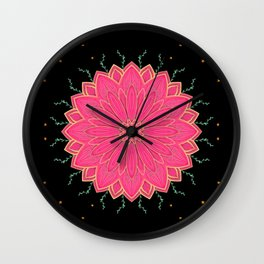 Project 520 | Pink Flowers on Black Wall Clock