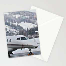 Private Jet & Snowy Mountains Stationery Cards