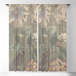 Antique Cicada Lithograph Sheer Curtain