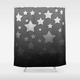 Black and White Herringbone Embossed Stars Shower Curtain
