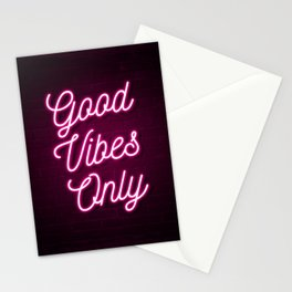 Good Vibes Only - Neon (Pink) Stationery Cards