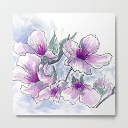 Cherry Blossom Ink and Watercolor Metal Print