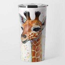 Giraffe Baby Watercolor Travel Mug