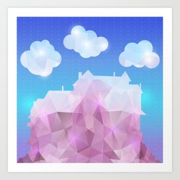 Abstract polygonal house with clouds and background Art Print