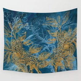Teal Garden In Spring Wall Tapestry