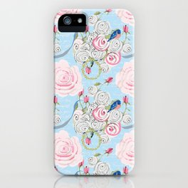 Bluebirds and Watercolor roses on pale blue with white French script iPhone Case