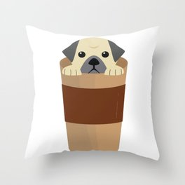 Cute Dog Coffee Throw Pillow