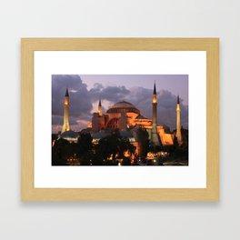 Hagia Sophia at Night Framed Art Print